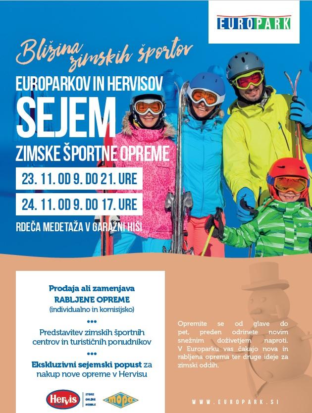 Sejem zimske športne opreme v Europarku, 23.11. in 24.11.2019
